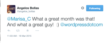 Angelos Bollas on Twitter    Marisa_C What a great month was that  And what a great guy      wordpressdotcom